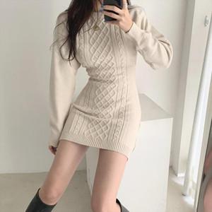 2020 New Autumn Spring Sexy Fashion Causal Dresses Female Slim Long Sleeve Elegant Mother O Neck Slim Korean Style Dress E6