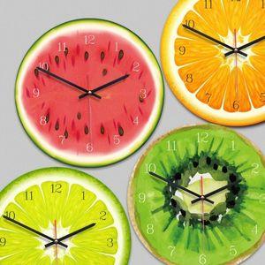 الإبداعية الفاكهة ساعة الحائط الجير الحديثة المطبخ الملونة الحائط ووتش ديكور المنزل غرفة المعيشة على مدار الساعة الفاكهة الاستوائية الفن التحفة الفنية DVgF #