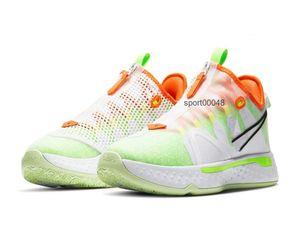 2020 PG 4 EP Paul George 4 Gatorade Gx White Volt Orange Men Basketball Shoes With Box New PG 4 Sport Shoes