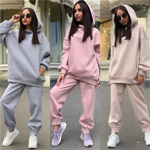 Autumn and winter new fashion women's solid color Hooded Sweater casual two piece sportswear