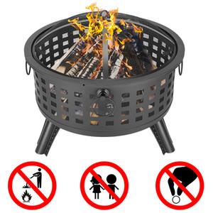 Waco rond stand de feu, fer à repasser en forme de bol de 26 pouces, décoration de bois de brûlage de bois ou de charbon de bois de 26 pouces ou de charbon de bois pour la piscine de jardin noir