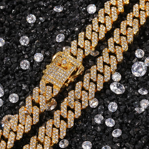 12MM Miami Cuban Link Chain Necklace Bracelets Set For Mens Hip Hop Bling iced out diamond Gold Silver Chains