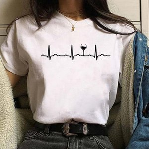 Kawaii Wine Heartbeat Print T Shirt Women Short Sleeve O Neck Loose Tshirt Summer Women Tee Shirt Tops Camisetas Mujer
