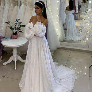 Elegant Wedding Dresses 2021 Off The Shoulder Long Sleeves Simple A Line Chiffon Floor Length Bridal Gown Sweep Train V63