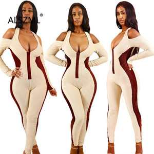 Simple Pure Color Deep V Neck Long Sleeve Skinny Jumpsuits Sexy Tight Club Party Lady Fashion Sheath Bodysuits
