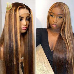 Honey Straight Blonde Lace Frontal Pelucas delanteras para Mujeres Negras Ombre Marrón Pelo humano 180 Densidad T Parte de encaje Peluca Pelo humano
