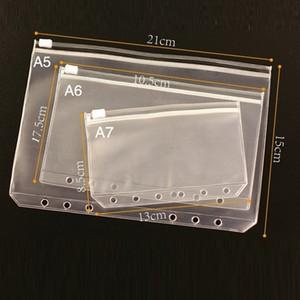 PVC Binder Прозрачная молния хранение сумка 6 отверстие водонепроницаемый канцелярские сумки офисные путешествия портативный документ SACK A5 / A6 / A7 T3I51578