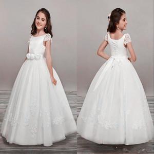 New Lovely Flower Girls Dresses For Weddings V Neck Tulle Floor Length Backless Ball Gown Junior Bridesmaid Dresses For Girls