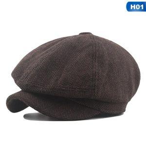 Berets Unisex Tweed Herringbone Gatsby Cap Homens Woolen Beret Beret Chapéu Preto Mens Senhoras Liso Baker Baquinho Sboy Inverno Retro