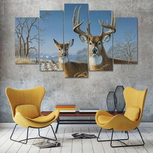 Modern Home Wall Art Decor Pictures 5 Pieces Grassland Animal Deer Snowfield Landscape HD Print Painting On Canvas(No Frame)