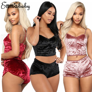 أزياء المرأة مثير المخملية بيجامة مجموعات السيدات الرباط V عنق المحاصيل قمم السراويل 2PCS ملابس للنوم ملابس نوم مجموعات RRA3680