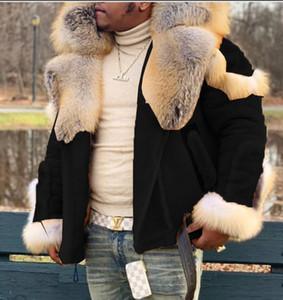 حاليا متوفر الشعبية واحدة شعبي رجل فو الجلود المخملية الفراء المتكاملة الفراء كبير الياقة كم طويل معطف