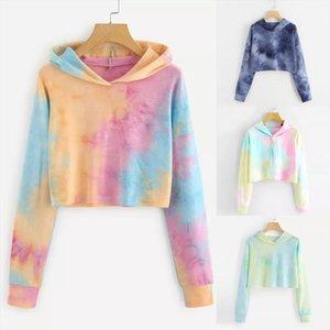 Vintage Women Tie Dye Printed Hoodies Colorful Patchwork Long Sleeve Sweatshirt Fashion Fresh Pullover Short Tops Moletom Y3