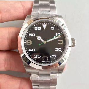 2019 Mais vendendo homens clássicos relógios Air-King 40mm preto grande Dial Sapphire Vidro Movimento Automático 316 Strap de aço Mens relógio de pulso