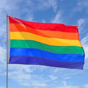 قوس قزح العلم راية 3x5ft 90x150 سنتيمتر مثلي الجنس فخر العلم البوليستر راية الملونة rainbow lgbt flag مثليه موكب أعلام الديكور owf2776