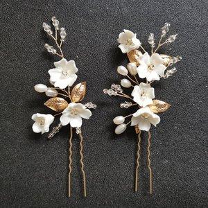 Slbridal Feuille en alliage Feuille de céram Fleur d'eau douce Perles de mariée Courtiers de mariée Stickers de mariage Sticker femme bijoux accessoires de cheveux W0104