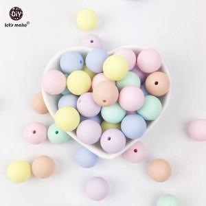 Marchio di Let 1000PC bambino Teether superficie liscia Flat Round di colore della caramella borda il silicone mestieri di DIY Beads Giocattoli Silicone Teether 12 millimetri