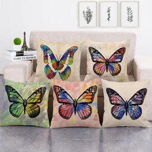 Pillowcases Butterfly Partded подушки чехлы льняные подушки для ленты белье сиденье задняя постельное белье декор дома декоративный 45x45см диван автомобильный кровати