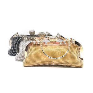 Luxury women evening party purses bridal wedding soft tote elegant shining handbag crystal shoulder bag diamonds cross body bag
