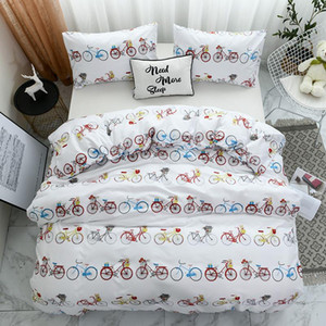Comforter bedding sets white duvet cover with pillowcase bicycle bedlinen Twin Full Queen King Bedclothes child best gift