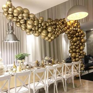 50pcs Pearl Chrome Metal Balloon Golden Balloon Arch Wedding Supplies Party Decor Globos