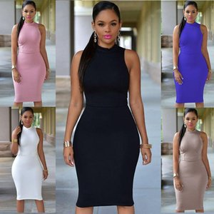 Casual Dresses Summer Sleeveless Women's Dress 2021 Fashion Bodycon Solid Package Hip Elegant Slim Hollow Out Lady