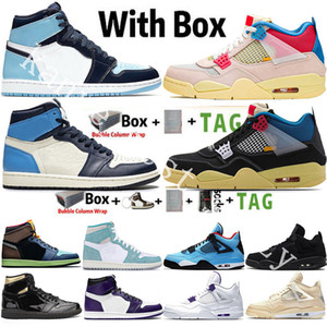 Nike Air Jordan Retro 1 1s Kutu Jumpman 1 1s Tokyo Bio Mocha Obsidian UNC Twist Travis Scotts 4 4s Black Cat Sail Guava Ice Noir Erkekler Basketbol Ayakkabıları Spor Sneaker ile