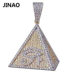 Jinao Hip Hop placcati Colore egiziano Piramide degli occhi della Collana Horus fuori ghiacciato micro pavimentato zircone Bling Chram Gioielli 200928