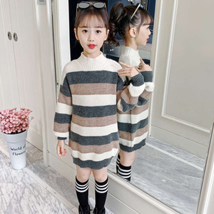 2020 new middle school top Winter girls' color matching striped sweater Korean children's wear 14VT3E8H