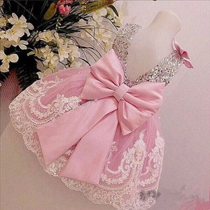 2021 Princess White Lace Pink Flower Girl Dresses Lovely Ball Gown Party Wedding Girls Dresses with Bow Sash