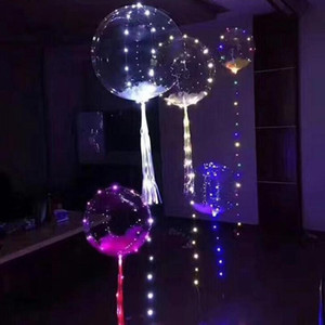 18 Inch Luminous Led Balloon Round Bubble Helium Balloons Kids Toy 3M LED Air Balloon String Lights Wedding Party Decoration KKE4018