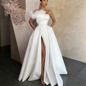 2021 Elegant White Satin Evening Dresses Long Red Black Prom Gowns With Pockets Feather Side Slit Formal Party Dress