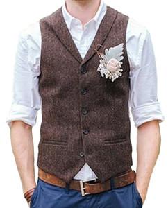 2021 Старинные коричневые Tweed Vests Furn Herringbone Изготовленные на заказ мужской костюм портной Slim Fit Blazer свадебные костюмы для мужчин