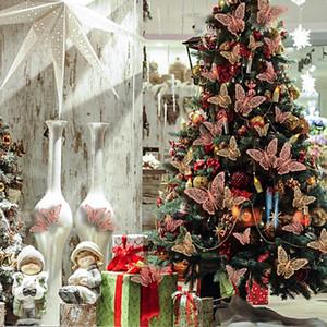 12pcs / Lot Navidad cristalina efecto 3D mariposas etiqueta de la pared de la mariposa hermosa para la decoración del hogar del árbol de navidad