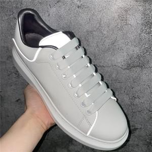 Shinny fluoreszierende scarpe reflektierend 3 m weiße lässig schuhe plattform tennis männer frauen lederkomfort freizeit damen chaussures mit box