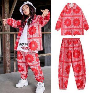 New Hip Hop Girls Jazz Hip Hop Costumi da ballo per bambini Camicia rossa Pantaloni hiphop Pantaloni rave vestiti da ballo da ballo Dance Dress Stage Outfits DQS3351