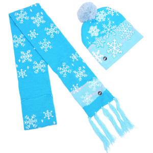 New Christmas Hat Adult Colored Luminous Warm Hat Fashion Christmas LED Illuminated Ski Hat Luminous Scarf GGB2354