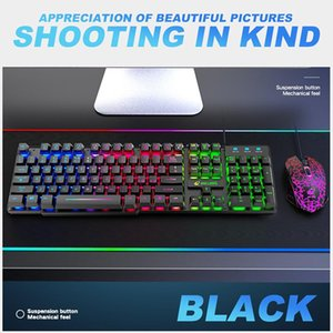 Keyboard Mouse Combos Italian Rainbow Backlit USB Game Keyboard+2400DPI 6 Key LED Mouse+mouse Pad Set Suitable For PC Notebook Computers