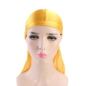 2020 Men's Silky Durags Bandanas Turban hat Wigs Doo Men Satin Durag Biker Headwear Headband Hair Accessories Extra Long Tail Du-Rag