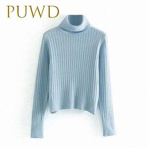 PUWD 2019 otoño nuevas señoras suéter de fondo, de alta cuello delgado suéter de punto azul uJlk #