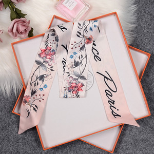 Дизайн шелковый шарф Мода оголовье Luxury Brands Женщины Шелковый шарф сумка Scraves Top Grade Шелковый шарф Bands волос 100 * 6см