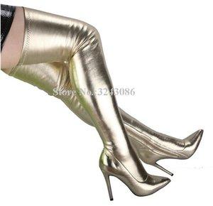 Cor ouro fino perna mulheres sobre os botas do joelho novo design stiletto calcanhar botas longas moda outono inverno feminino clube sapatos