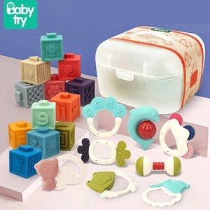 Baby Toys for 0 12 Months Toddlers Rattles with Storage Box Silicone Chew Toys Soft Rubber Large Baby Building Blocks for 0 36 LJ201113