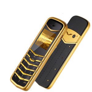 New Luxury Golden Signature dual sim card GSM Mobile Phone Mini stainless steel body MP3 Camera metal Ceramics back 8800 Cell phone