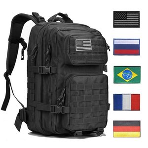 Mochila táctica 1000d hombres militares mujer bolsa de ejército al aire libre impermeable 43l bagpack impermeable viaje viajes senderismo mochila molle bolsas y200920