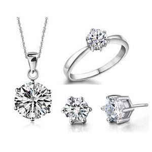 Bling Juego de joyería nupcial de cristal Collar plateado Plata Pendientes de diamante Anillo Joyas de boda Juegos de joyería para novias Accesorios para mujer