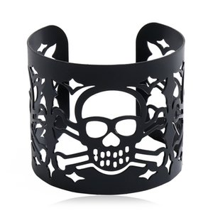 Exaggerated Skeleton Skull Cuff Bangle Gold Silver Gun Black Hollowed out Wide Bracelets Halloween Fashion Jewelry