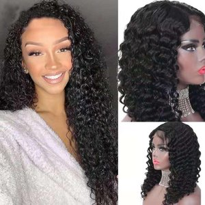5 days arrival 4*4 front lace Black water Wave Curly Lace Front Human Hair Wigs For many fashion lady and woman