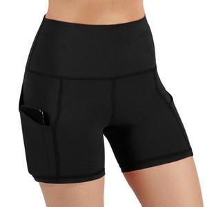 Turnhallen Shorts Frauen Hohe Taille Heben Push Up Yoga Shorts Frauen Diagonale Taschensport Sport Running Tight Fitness Yoga Pants