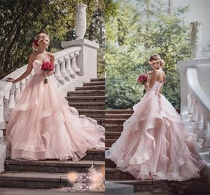 Blush Pink A line Wedding Dresses 2021 Rustic Boho Country Sweetheart Plus Size Bridal Gowns Backless Tiered Skirt robes de mariée AL8676